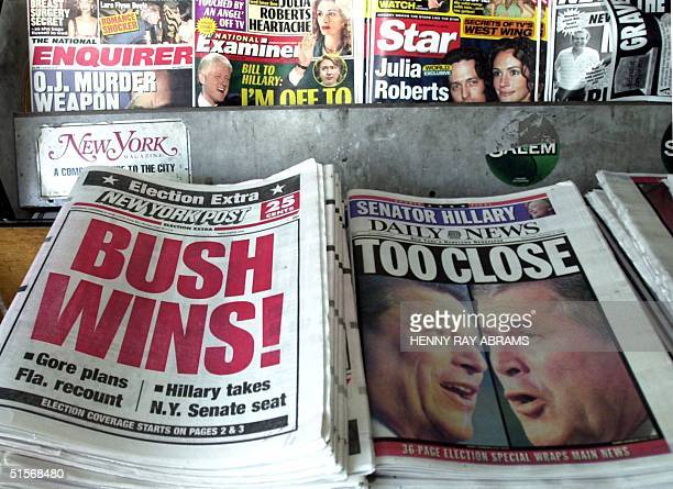 The New York Post proclaims Texas Gov George W Bush the winner of the presidential election while the New York Daily News is more circumspect in...
