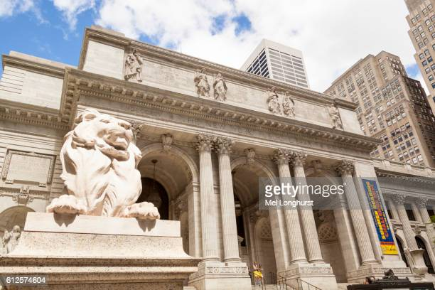 the new york public library, 5th avenue, manhattan, new york city, new york, usa - new york public library stock pictures, royalty-free photos & images