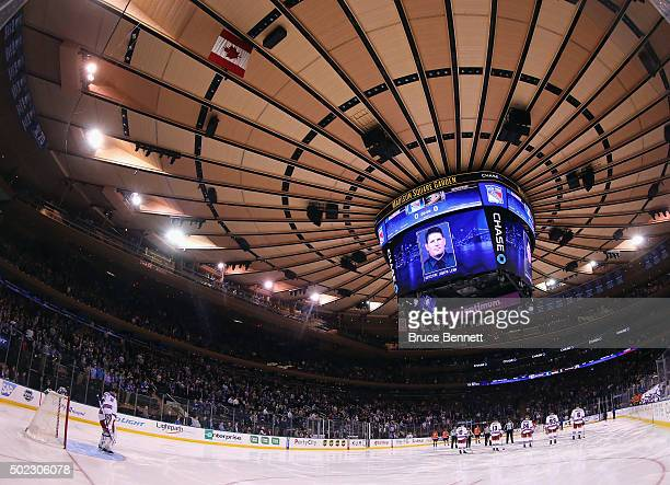 The New York Rangers and the Anaheim Ducks hold a moment of silence for NYPD Dectective Joseph Lemm prior to their game at Madison Square Garden on...