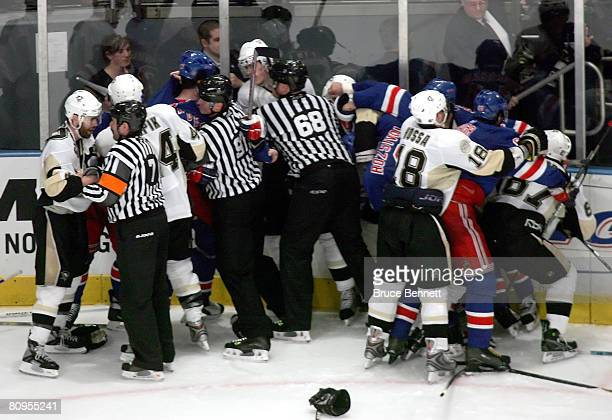 The New York Rangers and the Pittsburgh Penguins fight during the third period of Game 4 of the Eastern Conference Semifinals of the 2008 NHL Stanley...