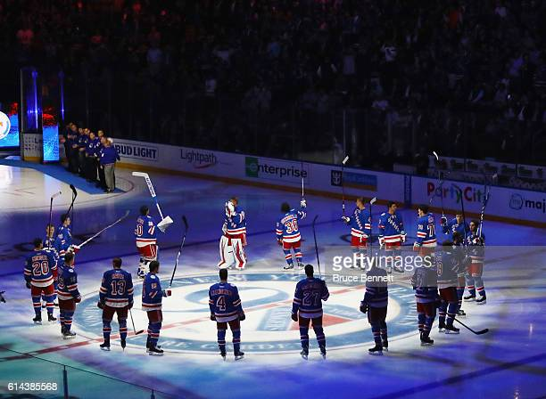 The New York Rangers are introduced prior to their game against the New York Islanders at Madison Square Garden on October 13 2016 in New York City
