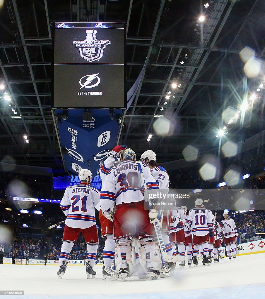 The New York Rangers celebrate a 5-1 victory over the Tampa Bay Lightning in Game Four of the Eastern Conference Finals during the 2015 NHL Stanley Cup Playoffs at Amalie Arena on May 22, 2015 in Tampa, Florida.