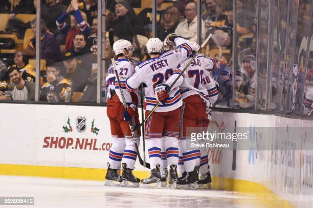 The New York Rangers celebrate a second period goal against the Boston Bruins at the TD Garden on December 16 2017 in Boston Massachusetts