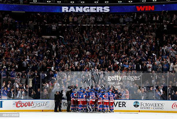 The New York Rangers celebrate defeating the Montreal Canadiens 10 in Game Six of the Eastern Conference Final during the 2014 NHL Stanley Cup...