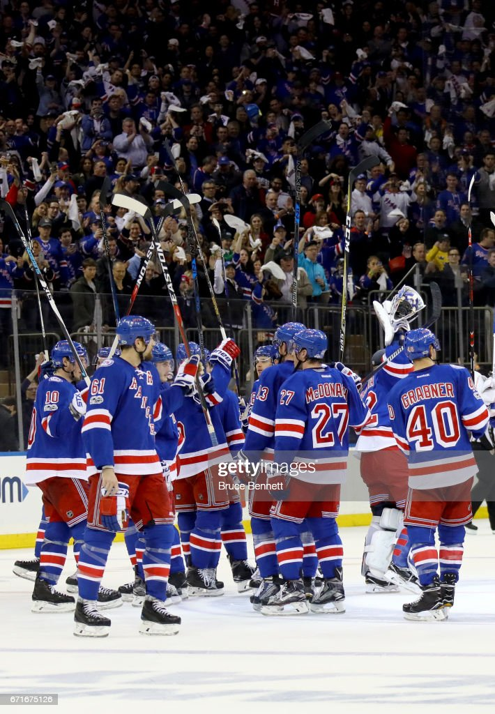 The New York Rangers celebrate defeating the Montreal Canadiens in Game Six with a score of 3 to 1 in the Eastern Conference First Round during the 2017 NHL Stanley Cup Playoffs at Madison Square Garden on April 22, 2017 in New York City.