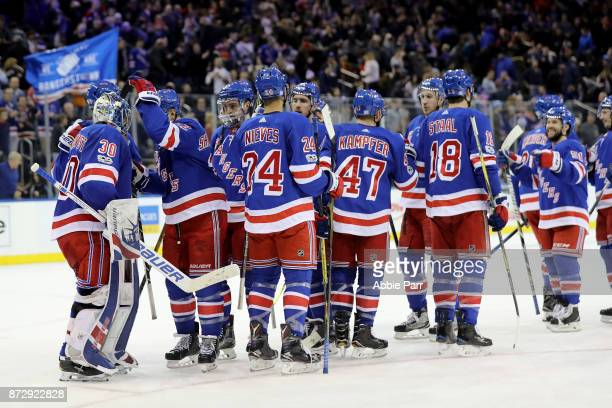 The New York Rangers celebrate their 42 win against the Edmonton Oilers at Madison Square Garden on November 11 2017 in New York City