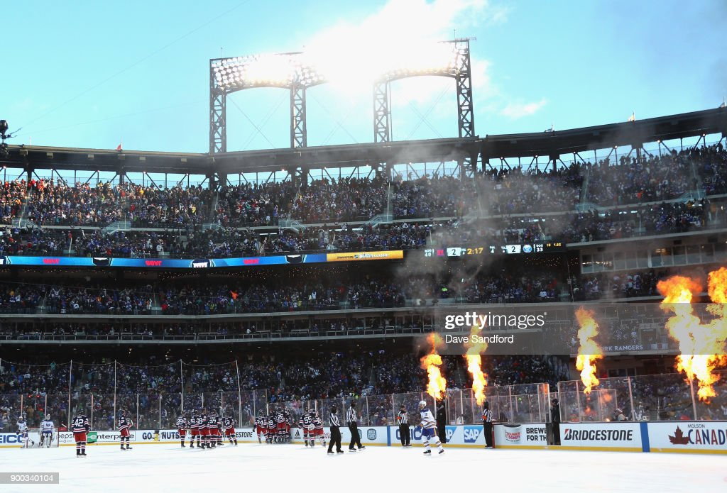 The New York Rangers celebrate winning the 2018 Bridgestone NHL Winter Classic y defeating the Buffalo Sabres 3-2 in overtime at Citi Field on January 1, 2018 in the Flushing neighborhood of the Queens borough of New York City.