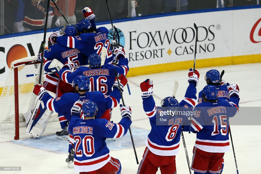 The New York Rangers celebrates after defeating the Montreal Canadiens in Game Six to win the Eastern Conference Final in the 2014 NHL Stanley Cup Playoffs at Madison Square Garden on May 29, 2014 in New York City. The New York Rangers defeated the Montreal Canadiens 1 to 0.