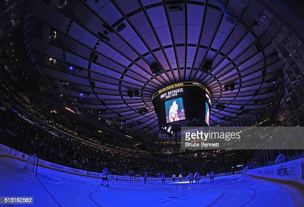 The New York Rangers hold a moment of silence for Andy Bathgate prior to the game against the Columbus Blue Jackets at Madison Square Garden on...