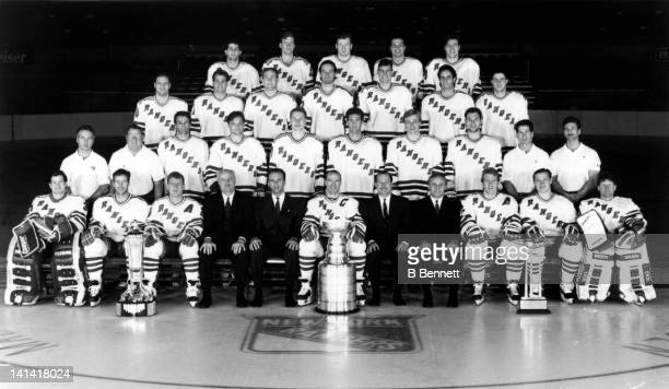 The New York Rangers pose with the Stanley Cup Trophy for a team portrait in June 1994 at the Madison Square Garden in New York New York