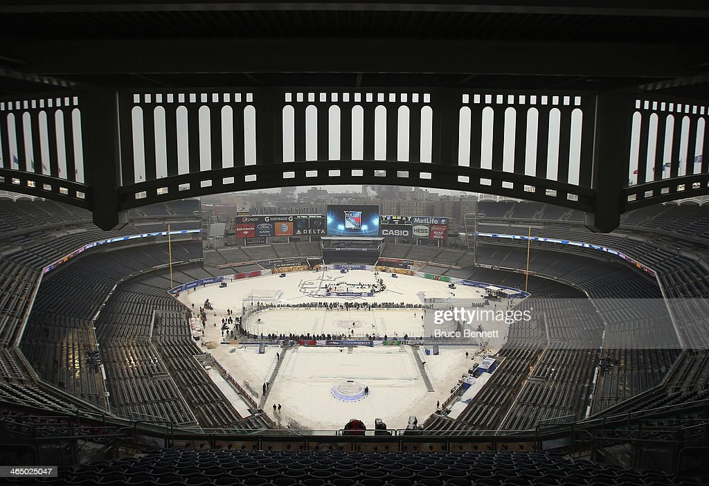 The New York Rangers practice the day before their outdoor game against the New Jersey Devils at Yankee Stadium on January 25, 2014 in the Bronx borough of New York City.