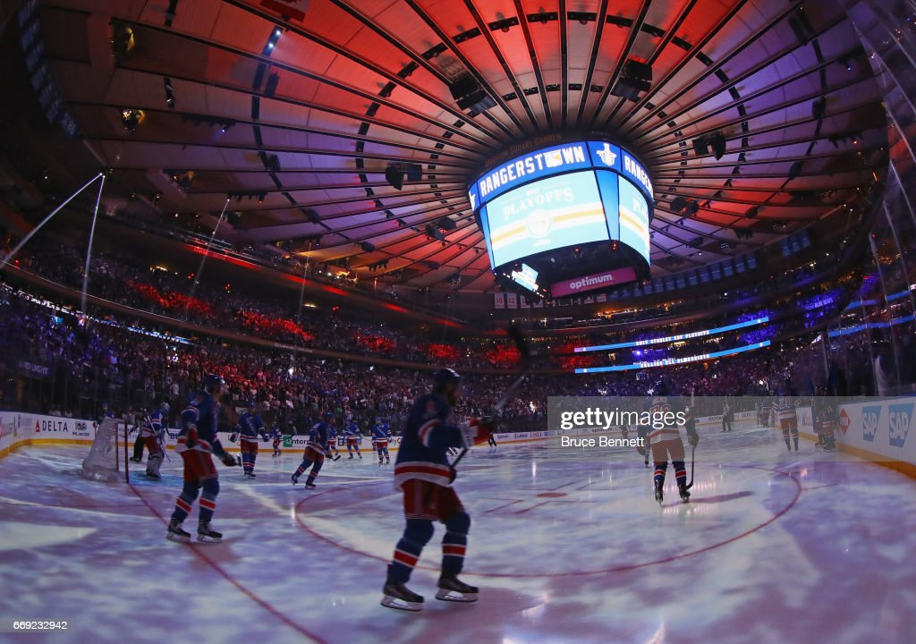 The New York Rangers prepare for the game against the Montreal Canadiens in Game Three of the Eastern Conference First Round during the 2017 NHL Stanley Cup Playoffs at Madison Square Garden on April 16, 2017 in New York City. The Canadiens defeated the Rangers 3-1.