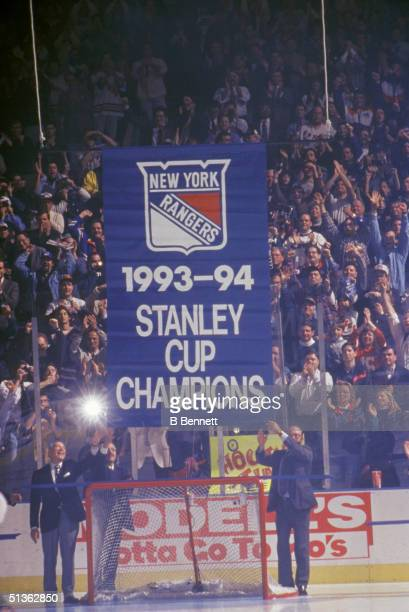 The New York Rangers raise their 199394 Stanley Cup Banner circa October 1994 in Madison Square Garden in New York New York