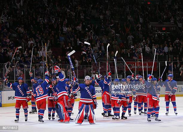 The New York Rangers salute the fans following a victory over the New Jersey Devils in game four of the Eastern Conference Quarterfinals of the 2008...