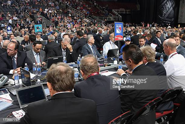 The New York Rangers team table is seen at the 2013 NHL Draft at Prudential Center on June 30 2013 in Newark New Jersey