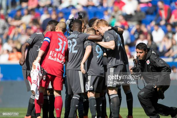 The New York Red Bulls in a huddle before the start of the New York Red Bulls Vs Chicago Fire MLS regular season game at Red Bull Arena on April 21...
