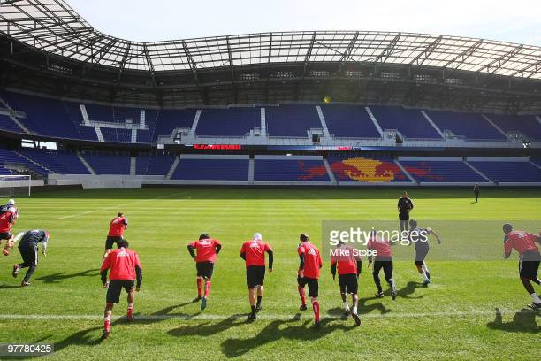 The New York Red Bulls run sprints during their first on field practice at Red Bull Arena on March 16 2010 in Harrison New Jersey