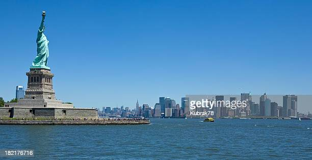 The New York Skyline and Statue of Liberty from the river