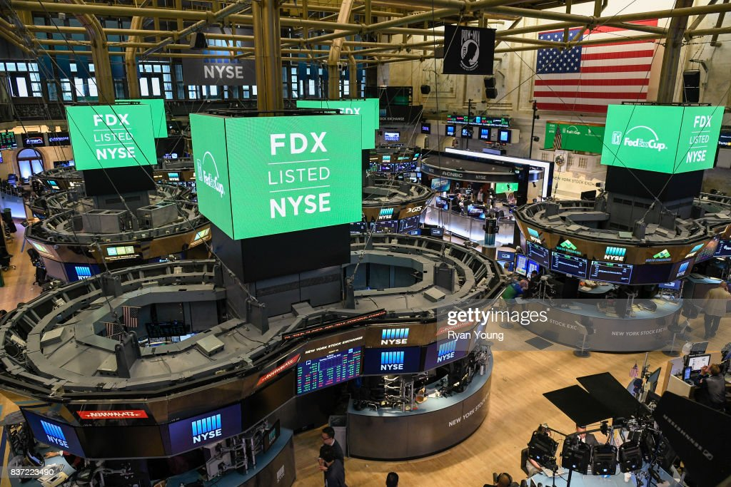 The New York Stock Exchange displays advertisements for the FedEx Cup during a preview media tour for THE NORTHERN TRUST on August 22, 2017 in New York City, New York.