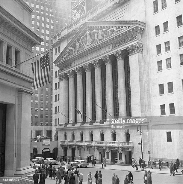 The New York Stock Exchange is shown at 10:52 am as stocks advanced sharply to new highs for 1956 after President Eisenhower announced his decision...