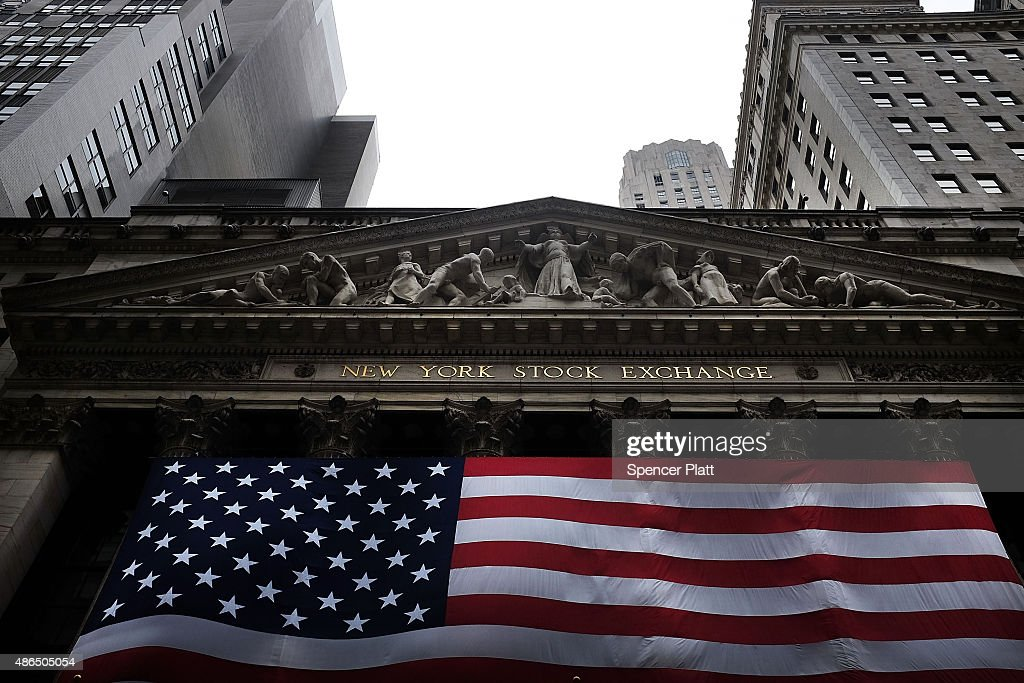 The New York Stock Exchange (NYSE) is viewed on September 4, 2015 in New York City. The Dow Jones industrial average finished the day down over 250 points, furthering losses for the week.