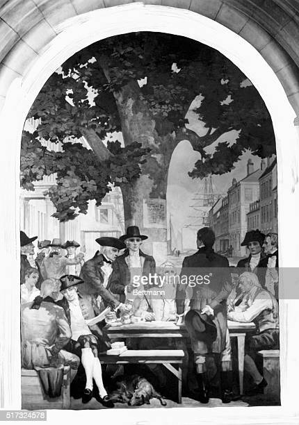 The New York Stock Exchange meeting under Buttonwood Tree on Wall St Leonard Bleeker Andrew Barclay Charles McEvers Augustine Lawrence David Reedy...