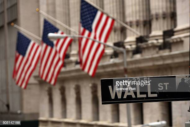 The New York Stock Exchange stands in lower Manhattan at the end of the day on January 15 2016 in New York City Stocks have fallen significantly in...