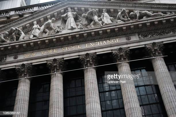 The New York Stock Exchange stands in lower Manhattan on January 03, 2019 in New York City. As a decline in Apple product sales in China continues to...