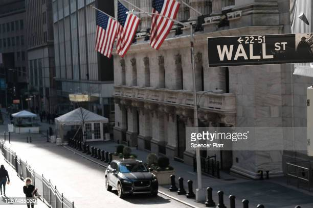 The New York Stock Exchange stands in lower Manhattan on November 24, 2020 in New York City. As investor's fear of an election crisis eases, the...