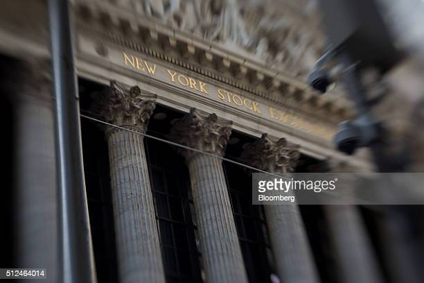 Image was created using a variable planed lens The New York Stock Exchange stands in New York US on Friday Feb 26 2016 US stocks resumed gains...
