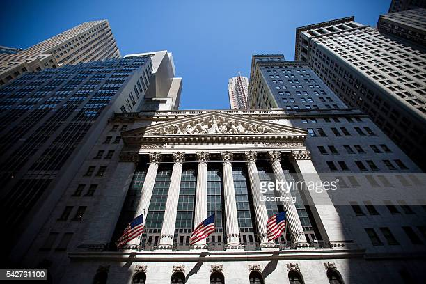 The New York Stock Exchange stands in New York US on Friday June 24 2016 US stocks tumbled joining a worldwide selloff with the Dow Jones Industrial...