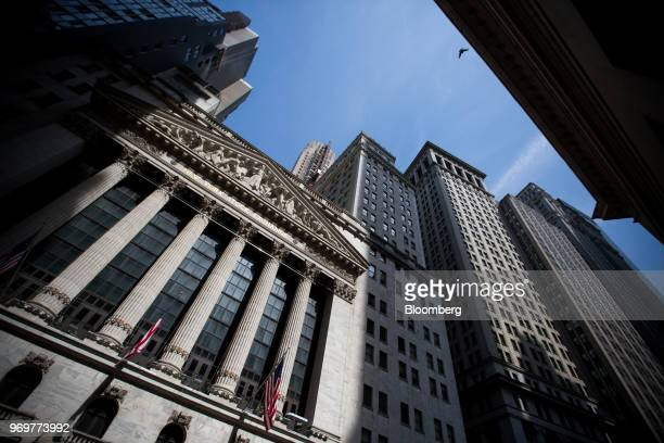 The New York Stock Exchange stands in New York, U.S., on Friday, June 8, 2018. Most U.S.Equitiesdrifted lower as global stocks lost momentum, with...