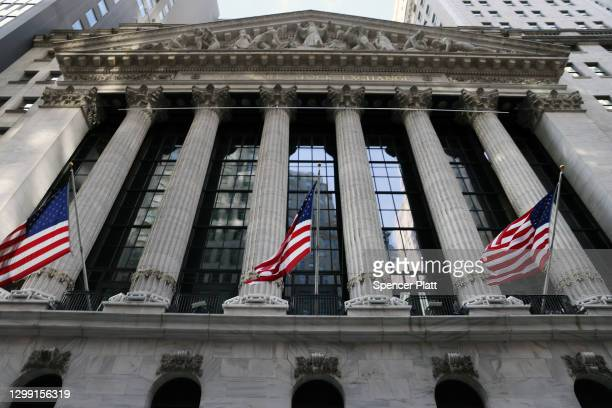 The New York Stock Exchange stands in the Financial District in Manhattan on January 28, 2021 in New York City. Markets continue a volatile streak...
