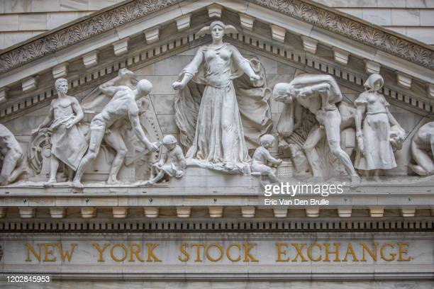 the new york stock exchange vasade close up - eric van den brulle stock pictures, royalty-free photos & images