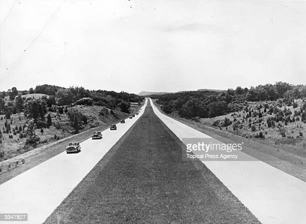 The New York Thruway, one of the longest toll highways in the US. Designed for maximum safety it has no traffic lights, cross traffic or sharp curves.