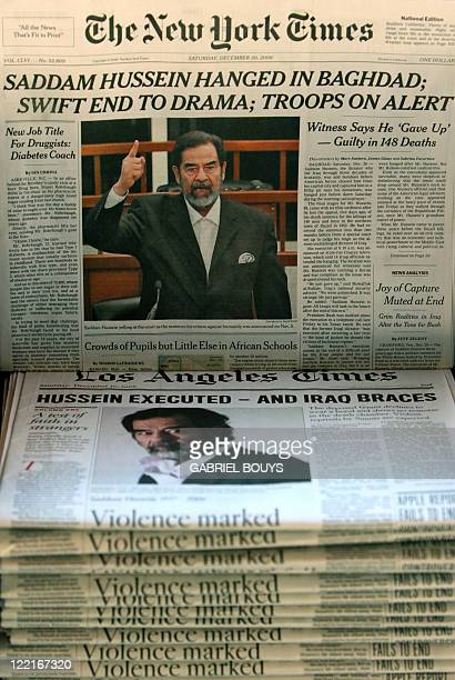 The New York Times and The Los Angeles Times headline the execution of former Iraqi president Saddam Hussein 30 December 2006 in Los Angeles Saddam...