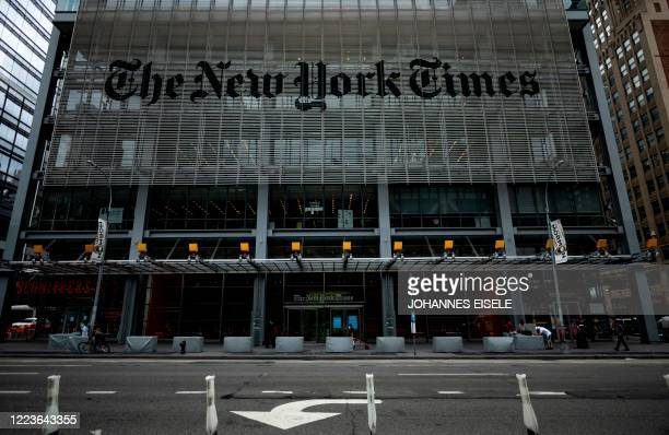The New York Times building is seen on June 30, 2020 in New York City. - The New York Times has become the highest-profile media organization to...