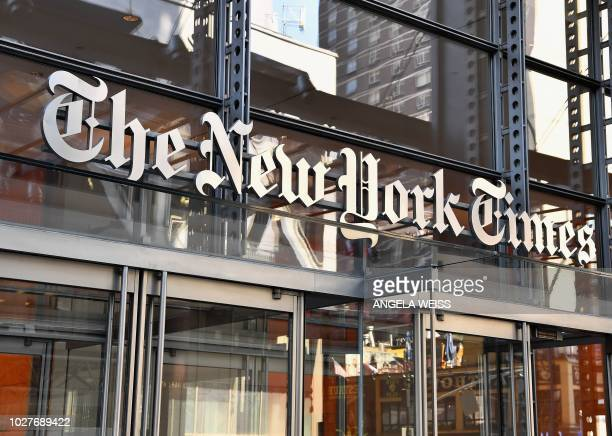 The New York Times building is seen on September 6, 2018 in New York. - A furious Donald Trump called September 5, 2018 for the unmasking of an...
