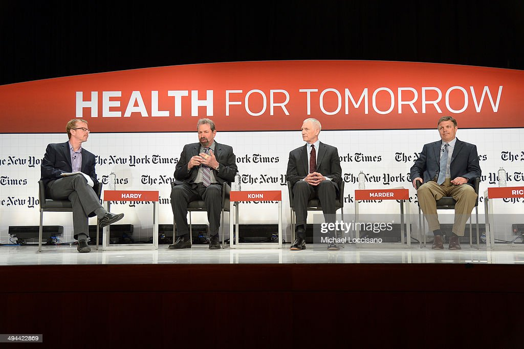 The New York Times Deputy Technology Editor Quentin Hardy, Jointly Health Chief Medical Scientist Dr. Martin Kohn, Truven Health Analytics Senior Vice President William D. Marder and Healthcare Bluebook C.E.O Jeffrey J. Rice M.D. J.D. speak at The New York Times Health For Tomorrow Conference at Mission Bay Conference Center at UCSF on May 29, 2014 in San Francisco, California.