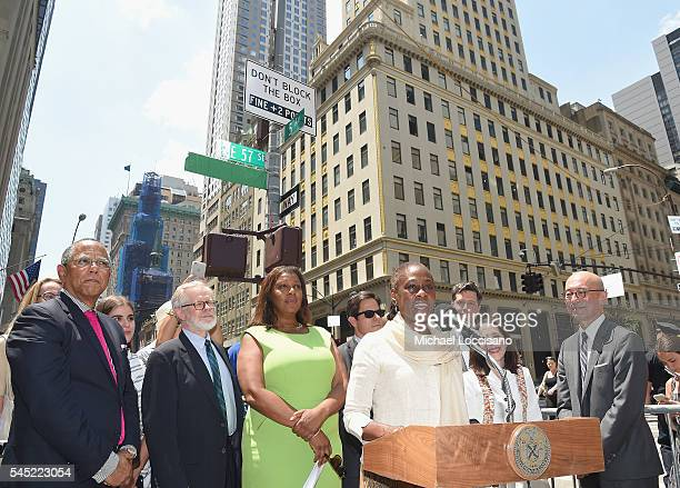 The New York Times Executive Editor Dean Baquet, Assemblyman Richard Gottfried, NYC Public Advocate Letitia James, NYC First Lady Chirlane McCray,...