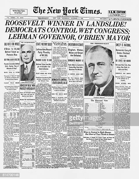The New York Times front page announces the presidential election results in a headline that reads ROOSEVELT WINNER IN A LANDSLIDE The headline also...