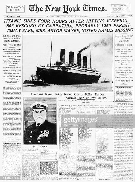 The New York Times headline: Titanic sunk.