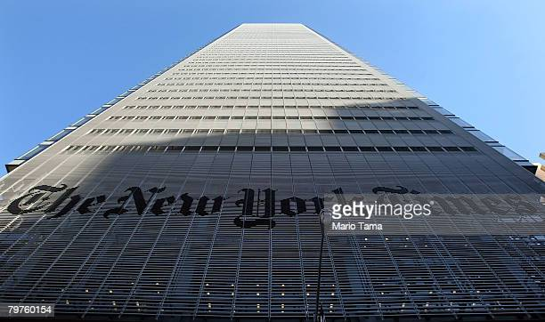 The New York Times headquarters is seen February 14, 2008 in New York City. The Times will eliminate 100 newsroom jobs, following a decline in...