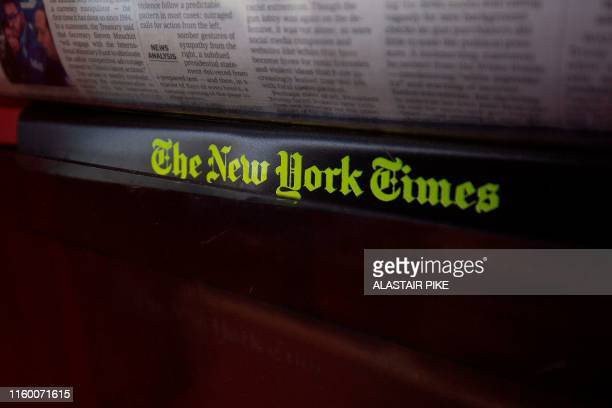 The New York Times logo is seen on a newspaper rack at a convenience store in Washington DC on August 6 2019