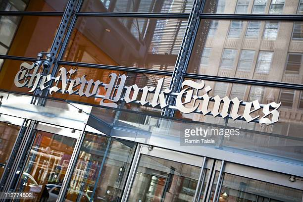 The New York Times logo is seen on the headquarters building on April 21 2011 in New York City The New York Times profits fell 58 percent in the...