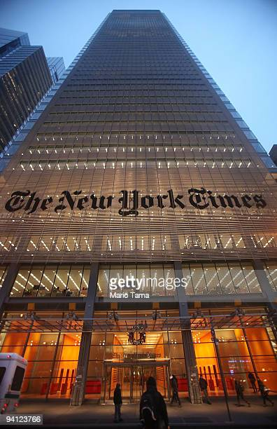 The New York Times' masthead is displayed in front of the midtown headquarters on December 7, 2009 in New York City. Today is the deadline for Times...