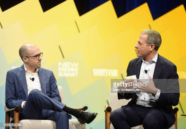 The New York Time's Publisher AG Sulzberger and Moderator and Political Analyst at MSNBC Richard Stengel speak onstage at Day 1 of the Vanity Fair...