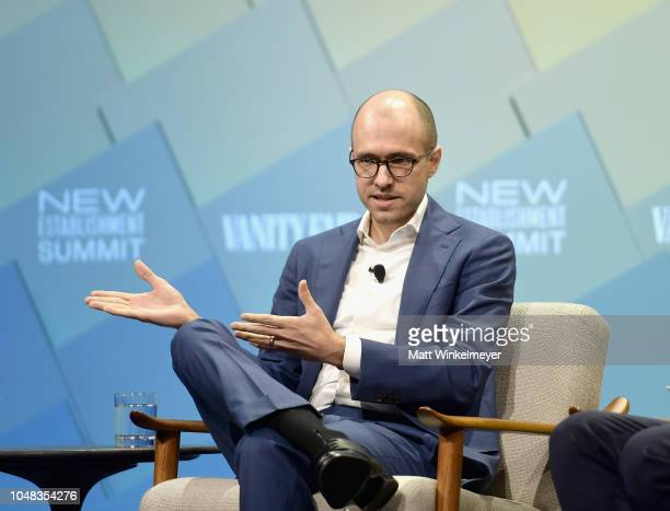 The New York Time's Publisher AG Sulzberger speaks onstage at Day 1 of the Vanity Fair New Establishment Summit 2018 at The Wallis Annenberg Center...