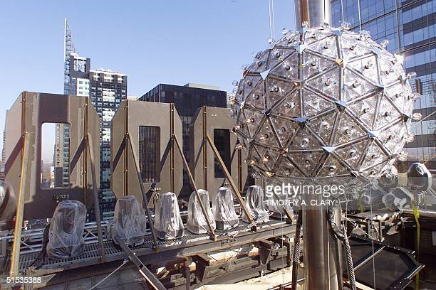 The New York Times Square Ball sits atop 1 Times Square during the test lighting 30 December 1999 in preparation for the Times Square 2000...