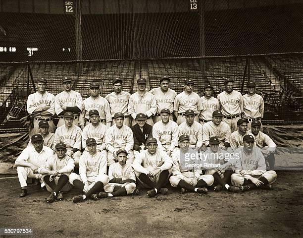 The New York Yankee team World's Champions for 1927 and winners of this year's pennant in the American League- left to right, bottom row- Woods,...